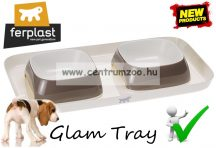 Ferplast Glam Tray Bowl Small Grey dupla tál  (71908521) szürke