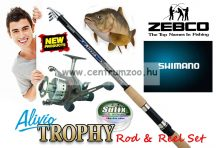 Shimano Alivio & Zebco Trophy BR460 Fishing Combo - bot és nyeletőfékes orsó szett 3,6m 50-100g (ALTE8000360  0304060)