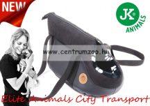JK Animals Borsello City Medium Black Moon textil és bőr szállító válltáska, kicsi - fekete (45790)
