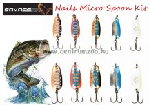 Savage Gear Nails Micro Spoon Kit1 1 & 2 méret 10db köröm villantó szett (55006)