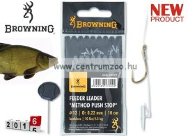 BROWNING Method Push Stop Hooks előkötött horog csalitüskével 18-as méret 0,22mm 8db (4704018)