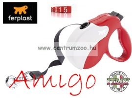 Ferplast AMIGO TAPE MEDIUM 25kg 5m automata póráz RED WHITE