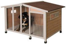 Kerbl Dog House Overwier szigetelt fa kutyaház 134 x 92 x h 82 cm ajtóval (81334)