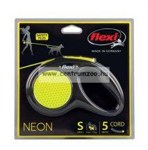 Flexi Neon S Cord 5m 12kg zsinóros automata póráz - fényvisszaverő (11724)