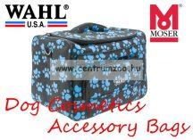WAHL MOSER Dog Cosmetics Accessory Bag black/paw turquoise kutyakozmetikusi táska (0093-6300)
