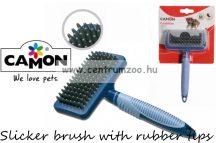 Camon Slicker brush with rubber tips Medium szőrzetápoló kefe 10x5x18 cm (B725/A)