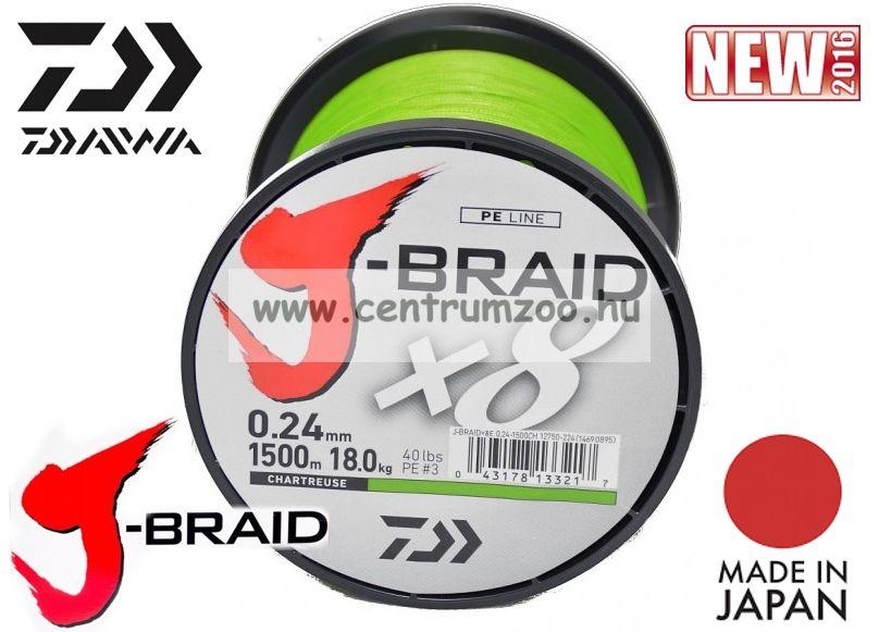 DAIWA J-BRAID FONOTT ZSINÓR Chartreuse 8 BRAID 1500m 0,16mm fonott zsinór (12750-216)