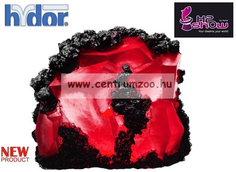 H2SHOW KIT - EARTH GEM kék RUBIN dekoráció + PIROS LED világító kristály akváriumba (KI1200)