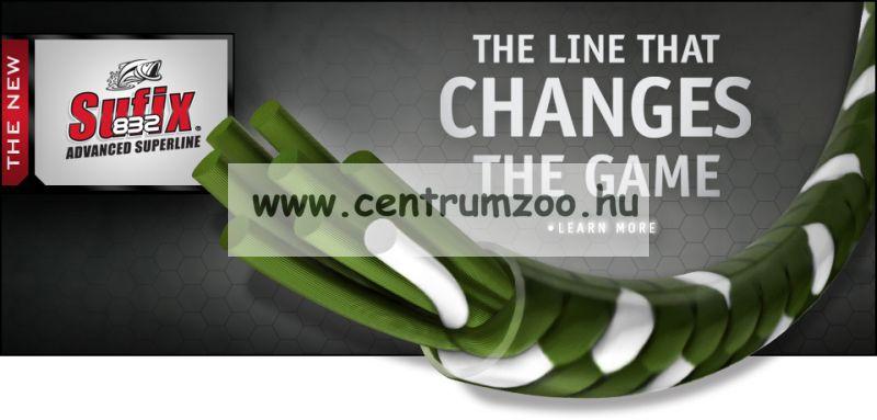 Sufix 832  V. generációs fonott zsinór 0.13MM/8.2KG/18LB/Neon Lime/ neonzöld 120m