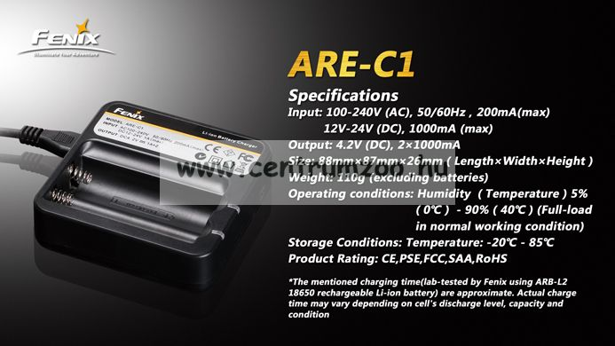 FENIX AKKU TÖLTŐ ARE-C1 (18650 ARB-L2 2600-3400mAh akkumulátorhoz) (FARE-C1)
