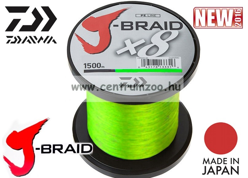 DAIWA J-BRAID FONOTT ZSINÓR Chartreuse 8 BRAID 1500m 0,35mm fonott zsinór (12750-235)