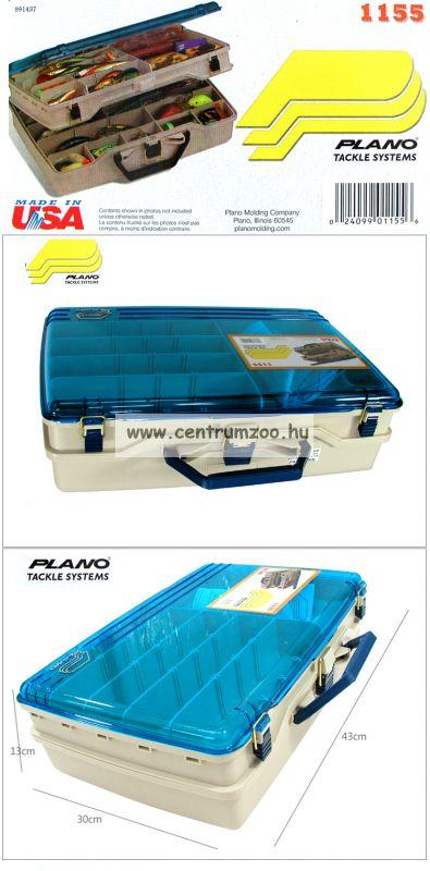 Plano 1155 egyoldalas, dupla szintes sokrekeszes horgászdoboz