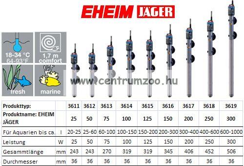 Eheim Jäger 100W Thermostat automata vízmelegítő (J-3614010)