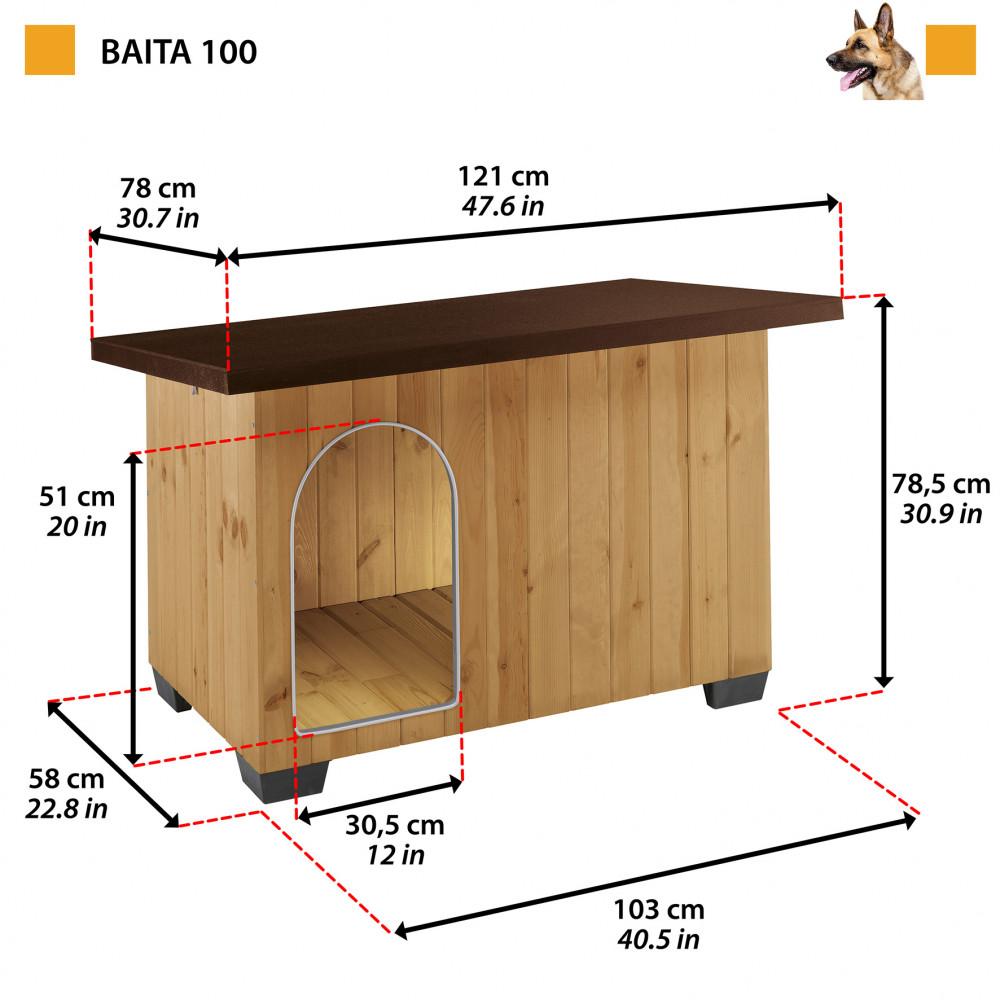 Ferplast Baita 100 Professional  fa kutyaház 122 x 79 x h 78 cm