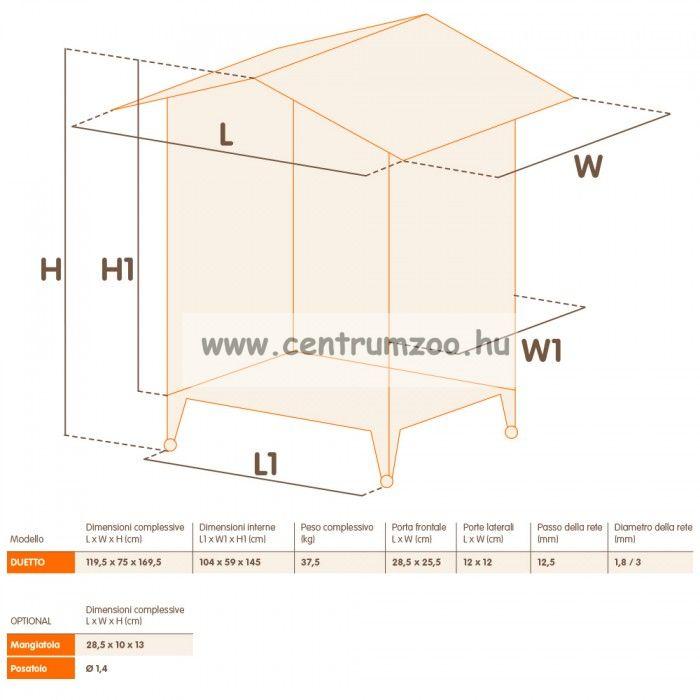 Ferplast Duetto NEW két szintes díszmadár röpde 119,5*75*169,5cm