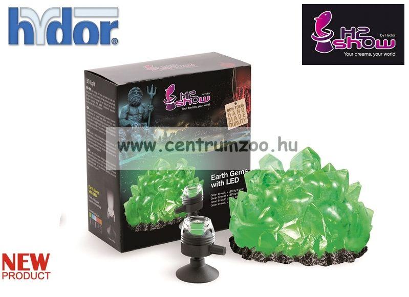 H2SHOW KIT - EARTH GEM SMARAGD dekoráció + ZÖLD LED világító kristály akváriumba (KI1300)