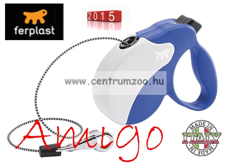Ferplast AMIGO CORD MEDIUM 25kg 5m automata póráz BLUE WHITE