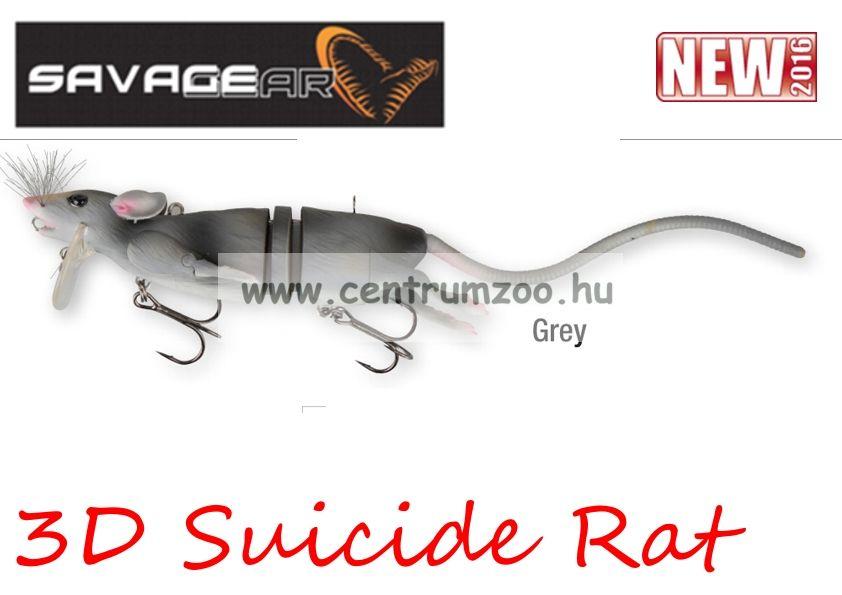 Savage Gear 3D Rad Rat mű úszó patkány csukára, harcsára 20cm 32g (Grey color)