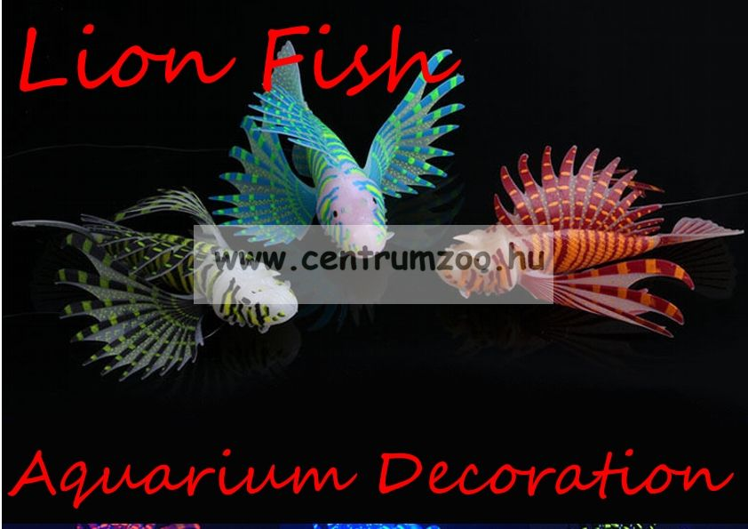 Akváriumi dekoráció - LionFish - szilikon tűzhal - PINK (OM-5004D )