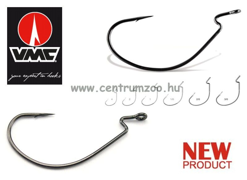 VMC 7316 Strong Wide Gap Worm műcsalis, gumihalas horog 10db/cs