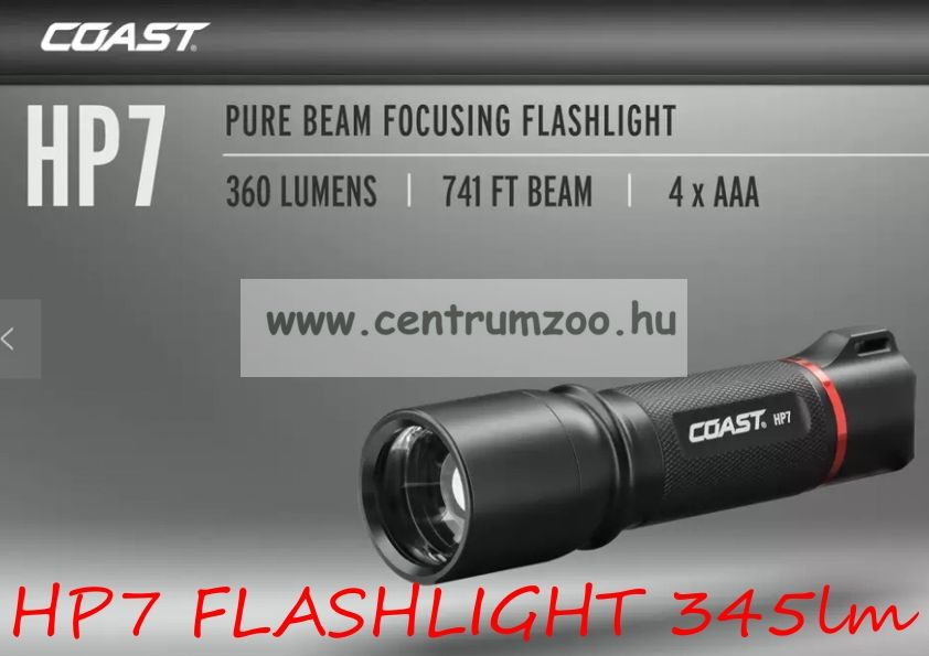 Coast LED Light HP7 FLASHLIGHT 345lm erős fényű kereső lámpa
