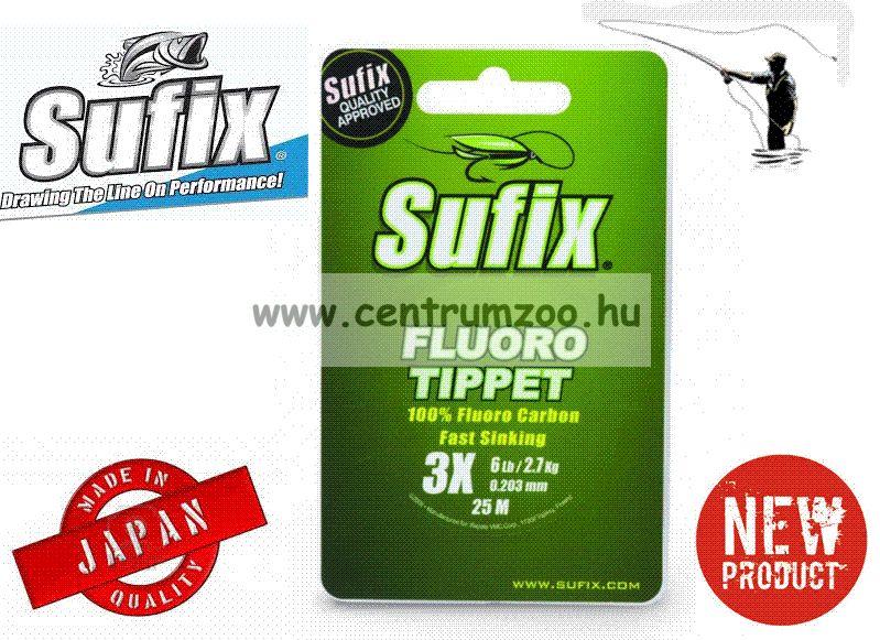 Sufix  FLUORO TIPPET 25M+PVC 0.108MM/2LB/7X CLEAR monofil előke zsinór