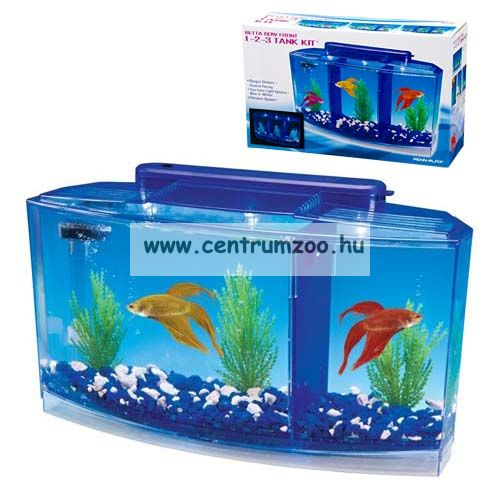 Penn Plax Aquarium Deluxe Betta LED 2,7 liter 3 fakk betta akvárium szett (077050)