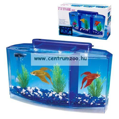 Penn Plax Aquarium Deluxe Betta LED 2,7 liter 3 fakk betta akvárium szett (077050)