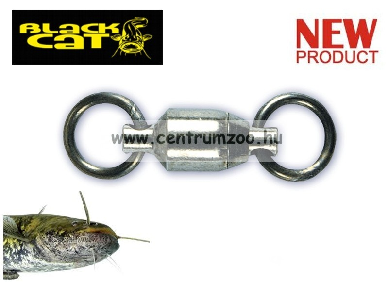 BLACK CAT Catfish Rolling Ball Bearing Wirbel Swivel 36mm - 3db CSAPÁGYAZOTT erős forgó  (6175002)