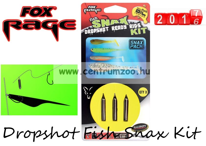 Fox Rage Dropshot Fish Snax Kit 1.2m x 0.25mm 5g komplett dropshot szett (NRR024)