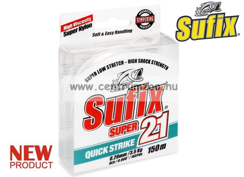 Sufix SUPER21 0.40mm/14kg/24LB/clear 300m japán monofil zsinór 2015NEW