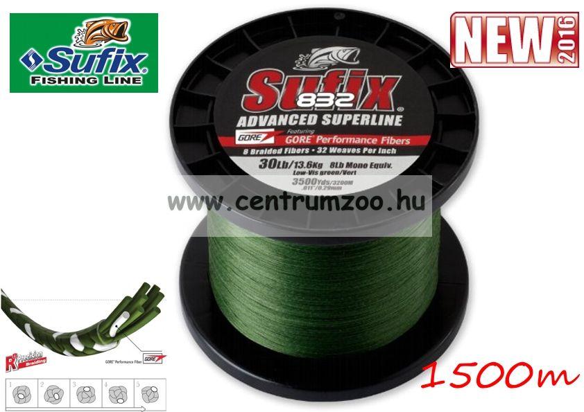 Sufix 832  V. generációs fonott zsinór 0.24MM/17.7KG/39LB/Green/ zöld 1500m