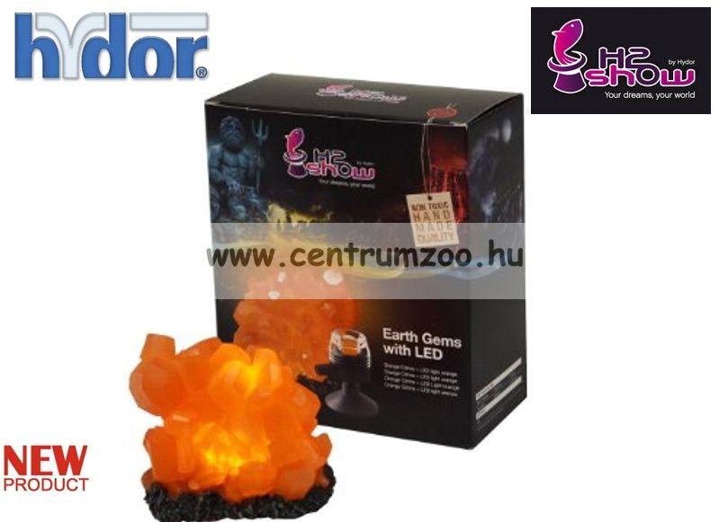 H2SHOW KIT - EARTH GEM NARANCS QUARTZ dekoráció + NARANCS LED világító kristály akváriumba (KI1500)