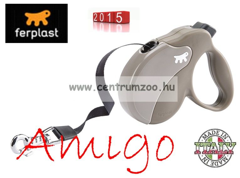Ferplast AMIGO TAPE LARGE 50kg 5m automata póráz DOVE GREY