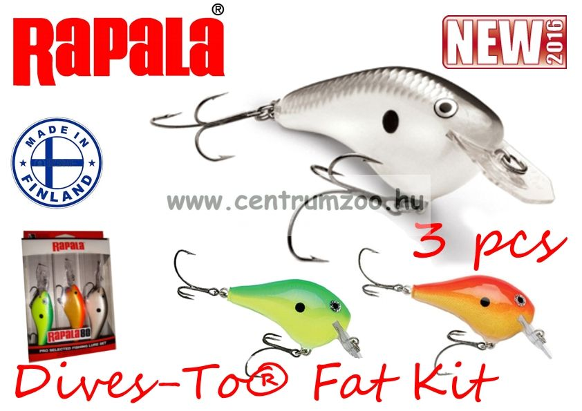 Rapala DTF09 KIT 3db-os SZETT Dives-To Fat Series Lures wobbler szett -AKCIÓ