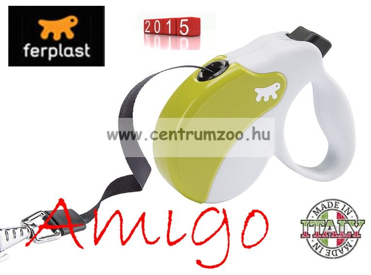 Ferplast AMIGO TAPE MEDIUM 25kg 5m automata póráz GREEN