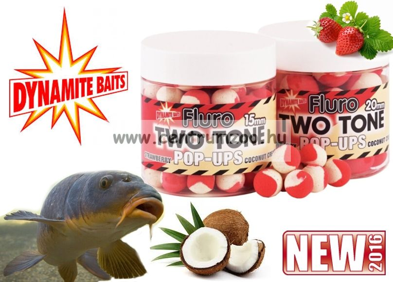 Dynamite Baits Fluro Pop-Up Two Tone Strawberry & Coconut lebegő bojli (DY593)