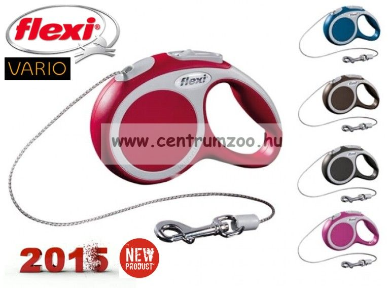 Flexi Vario 2015NEW M RED 5m 20kg automata póráz -PIROS