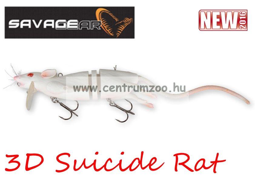 Savage Gear 3D Rad Rat mű úszó patkány csukára, harcsára 20cm 32g (White color)