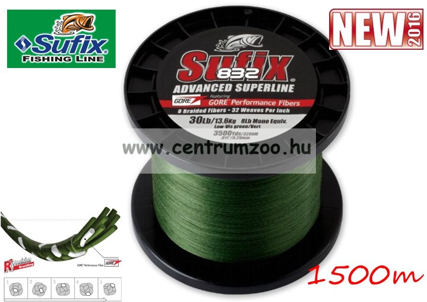 Sufix 832  V. generációs fonott zsinór 0.33MM/28.5KG/63LB/Green/ zöld 1500m