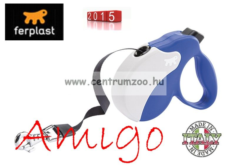 Ferplast AMIGO TAPE SMALL 15kg 5m automata póráz BLUE WHITE