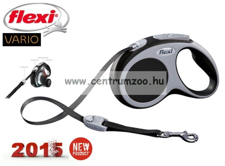 Flexi Vario Tape 2015NEW S ANTHRACIT SZALAGOS 5m 15kg automata póráz -SZÜRKE