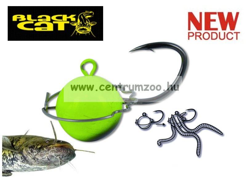Black Cat 200g Wormball Jig Head black/yellow - kuttyogató horog és ólom (3144200)
