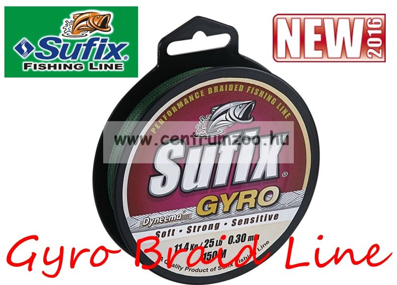 Sufix Gyro Braid NEW fonott zsinór 0.17mm/8,9kg deep green 135m
