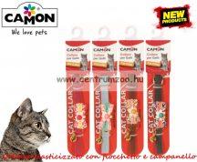 Camon Cat Collare elasticizzato con fiocchetto e campanello nyakörv cicáknak több színben (DG041/B)
