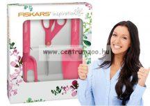Fiskars Inspiration Starter Set Professzionális olló, ültetőlapát, talajlazító szett (1020419) Pink