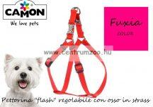 """Camon Pettorina """"flash"""" regolabile con osso in strass -  Fuxia kutyahám 10mm (DC090/F)"""