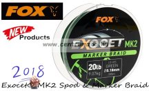 Fox Exocet® MK2  Marker Braid Green 20lb 0.18mm 300m fonott zsinór (CBL012)
